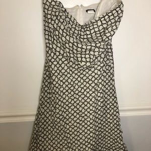 J. Crew Strapless Dress. White and Chocolate sz 6